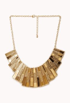 Deco Fan Bib Necklace | FOREVER21 Make sure to accessorize #Accessories #Gold #StatementNecklace