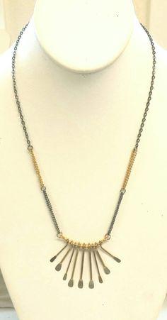 Brass fan necklace by BettySooHandmade on Etsy