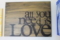 all you need is love  gold and black  12x16 by thenotsoblankcanvas