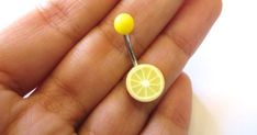Lemon Slice Belly Button Ring Yellow Navel Stud Jewelry Bar Barbell Piercing Fruit | Belly Button Rings, Belly Button and Navel