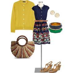 springtime work wear - belted dress w/ cardigan