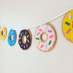 Items similar to Donut Banner/ Donut Party Banner/ Felt Donuts/ Donut Pajama Party/ Donut Birthday Party Banner/ Donut Bunting/ Dunkin Donuts Baner on Etsy Donut Party, Donut Birthday Parties, Birthday Party Themes, Birthday Bunting, Carnival Birthday, Cupcake Party, Birthday Ideas, Fete Shopkins, Shopkins Party Ideas