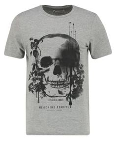 Jack & Jones JORRASTA SLIM FIT - T-shirt print - light grey melange - Zalando.be