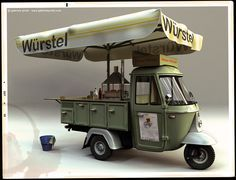 wurstel. Three wheeled food cart. How much an awning/umbrella does!
