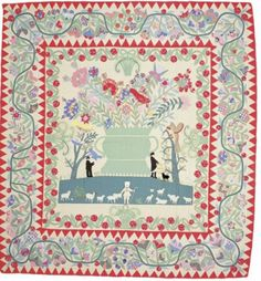 "Phebe Warner Coverlet   By Sarah Furman Warner Williams   About 1803, 103 1/4 x 90 1/2""   For Phebe Warner Cotheal   Collection: Metropol..."
