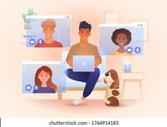 Call Teams: vetores, imagens e arte vetorial stock | Shutterstock Free Online Chat, Free Chat, Smiling People, People Videos, Online Friends, Travel Illustration, Create Website, Remote, Concept
