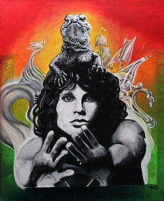 """Jim Morrison - The Lizard King. The Lizard is based on my own photo ([link]) The background is a refrence to my favourite The Doors-song, """"The Crystal S. The Lizard King (Jim Morrison) American Poets, Best Rock, Photo Link, Jim Morrison, Musical, Online Art Gallery, Psychedelic, King, Deviantart"""