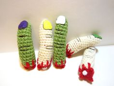 Bloody Severed Finger Small Pet Toy  Crochet by MadebyJody666
