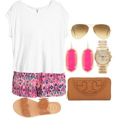 Casual/ Spring-Summer/ Plain white tee shirt, pink and blue printed shorts, pink earrings, gold watch, brown sandals, aviators