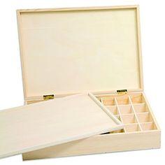 Boîte de rangement en bois,pour ranger des boutons, des bijoux et d'autres accessoires, à décorer individuellement avec de la peinture, des serviettes en papier, etc.,avec 32 petits compartiments (dim.d´un compartiment : 4 x 6 cm) et planche de séparation de 31,5 x 22 cm, dim. totalede la boîte:36 x 26 x 7 cm.