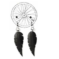 """ear rings """"cyclist's dream catcher"""" made of bicycle tube by tubnub"""