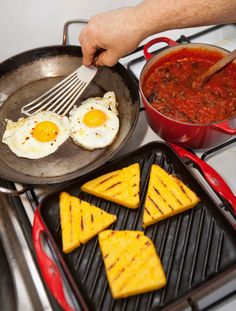 Grilled Polenta With Spicy Tomato Sauce and Fried Eggs Recipe. Click the link to read David Tanis's complete recipe. (Photo: Owen Franken for The New York Times)