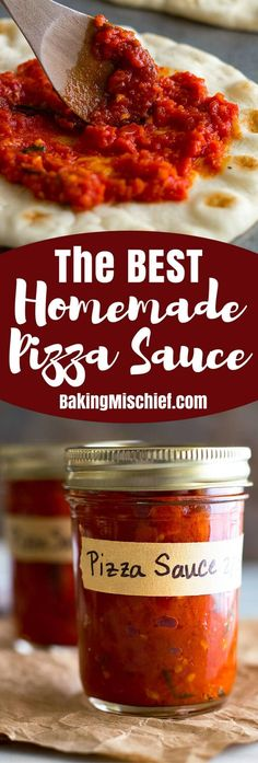 The best homemade pizza sauce! So easy to make and freezer friendly for a quick and easy dinner. From BakingMischief.com