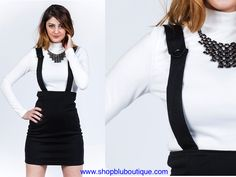 Want to wear something unique and also elegant? Then no need to look further! This Plenty of Funk Suspender Skirt is the one that you have been looking for!  Cool suspenders with skater skirt, it's best paired with a sweatshirt or a cropped top.  Get it now at Blu Boutique. Visit www.shopbluboutique.com today #womensfashion #skirtforwomen #suspender #suspenderstyle #blackskirtoutfits