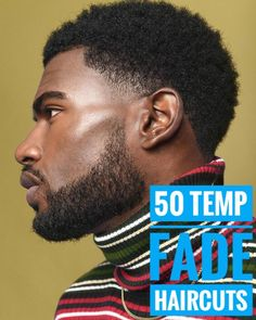 Check out the freshest temp fade haircut trends for men ranging from afro box fades, to mohawk temp fades, crew cuts with line ups, and many more! Afro Fade Haircut, Fade Haircut With Beard, Medium Fade Haircut, Temp Fade Haircut, High Fade Haircut, Taper Fade Haircut, Haircut Long, Black Boys Haircuts, Black Men Hairstyles