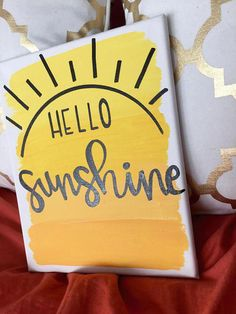 """Hello sunshine"" This sweet canvas comes in multiple sizes, and its the perfect house warming gift! :) ""Hello sunshine"" This sweet canvas comes in multiple sizes, and its the perfect house warming gift! Simple Canvas Paintings, Easy Canvas Art, Small Canvas Art, Easy Canvas Painting, Mini Canvas Art, Cute Paintings, Diy Canvas, Canvas Ideas, College Canvas Paintings"