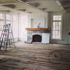 What is a Covered Call - Stone fireplace with dark wood mantle and square cut-out not arch - Wood Mantle Fireplace, Tv Over Fireplace, Farmhouse Fireplace, Living Room With Fireplace, Fireplace Surrounds, New Living Room, Fireplace Design, Fireplace Update, Fireplace Decorations