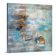 "35"" X 35"" $190.95'Calm Sea' by Silvia Vassileva Painting Print on Canvas   Joss & Main"