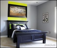 We DID this headboard for Greyson's room!  It looks super!