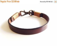 Fathers day gift sale Leather Bracelet Mens Wrap Bracelet Bronze Clasp Men leather wrap Bracelet brown Leather bracelet cuff Bohemian mens J