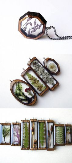 Crafts Jewelry Artist Erin LaRocque (of BuildWithWood) creates beautiful pendants by encapsulating natural treasures, found in Michigans Hiawatha National Forest, in resin and laser-cut wood frames. Diy Schmuck, Schmuck Design, Jewelry Crafts, Handmade Jewelry, Jewelry Accessories, Jewelry Design, Designer Jewelry, Jewelry Trends, Jewelry Sets