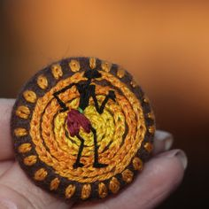 Big button, brooch, africa, sun, warmth, heat, native, african, ethno, embroidery, embroidered