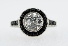 1.13 Carat Art Deco Diamond and Onyx Ring | From a unique collection of vintage engagement rings at https://www.1stdibs.com/jewelry/rings/engagement-rings/