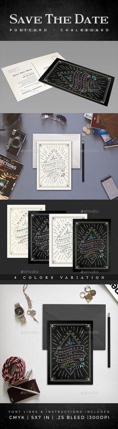 Elegant Chalkboard Save The Date Postcard Template PSD. Download here: https://graphicriver.net/item/elegant-chalkboard-save-the-date-postcard-volume-6/17210236?ref=ksioks