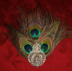 Peacock hair clip. Love the vintage jewel