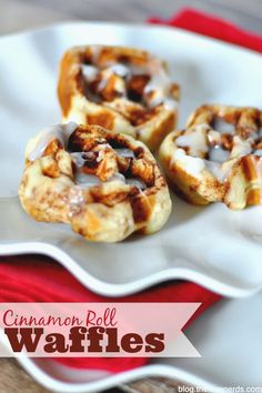Cinnamon Roll Waffles - An easy and special twist on a regular can of cinnamon rolls - crisp on the outside with a soft, gooey middle!