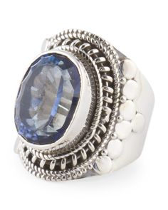 Made In India Sterling Silver Blue Mystic Quartz Oval Ring