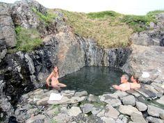 Hellulaug geothermal pool in Vatnsfjörður fjord in the Westfjords of Iceland