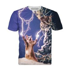 2017 New arrivals brand clothing Printed Thundercat T-Shirt fearless kitty  cat playing with lightning t shirts harajuku tees men 629fefc2a09f