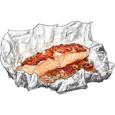 ✿Food & Beverages✿ Tomato Salmon en papilotte