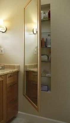 Secret built-in bathroom storage. Brilliant!