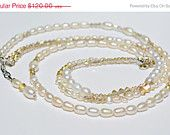 HOLIDAY SALE Multi Strand Pearl, Pearl and Swarovski,Three Strand Necklace, Wedding Necklace, Bridal Necklace, Wedding Jewelry