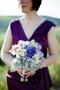 purple bridesmaid bouquet. photo by mayamyers.com