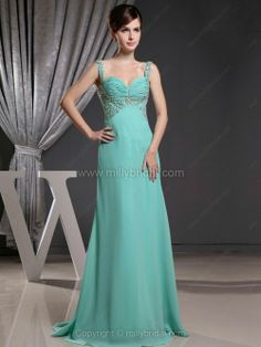 A-line Straps Chiffon Sweep Train Sequins Prom Dresses
