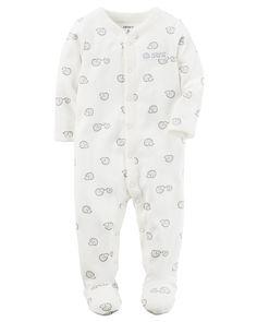 LITTLE ME 100/% COTTON White Print BABY DUCKS Footie w//Matching Hat UNISEX NWT