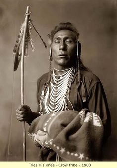 a majestic picture of Tries His Knee, a Crow Indian Brave. It was created in 1908 by Edward S. The photograph presents a Half-length portrait of this Crow Man. Contact mailto:curator Image ID# Native American Photos, Native American History, American Indians, African History, Indian Tribes, Native Indian, Norman Rockwell, Crow Indians, Into The West