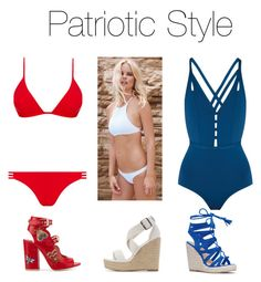 """Patriotic Style"" by blackshirtclothing on Polyvore featuring Melissa Odabash, Ephemera, Laurence Dacade and Charlotte Russe"