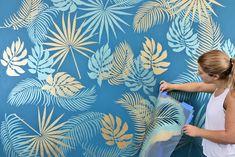 Stencil A tropical wall with cutting edge stencils DIY wall stencil pattern . - Stencil A tropical wall with cutting edge stencils DIY wall stencil pattern # cutting ed - Stencil Decor, Wall Stencil Patterns, Leaf Stencil, Stencil Designs, Paint Designs, Painting Patterns On Walls, Bird Stencil, Wallpaper Accent Wall Bathroom, Wall Wallpaper