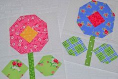 Quilty Fun flowers by Grey Dogwood Studio. Pattern by Lori Holt for Bee In My Bonnet, fabric by Pam Kitty Morning