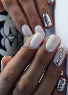 Best White Glitter Nail Designs for Ladies in 2019 Diy White Nails White Nail Designs, Nail Designs Spring, Toe Nail Designs, Acrylic Nail Designs, Glitter Nail Designs, Nails Design, White Glitter Nails, White Acrylic Nails, White Nail Art