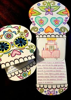 Writing Template for Día de los Muertos / Day of the Dead After students learn about Día de los Muertos, they can respond to writing prompts to show their understanding on these fun calavera templates.  Includes decorated and blank calavera, 7 different writing templates, and writing prompts in Spanish and English.