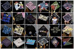 New York City, US: A combination photo shows graduates' mortar board hats emblazoned with decorations and sayings during a degree ceremony at Medgar Evers College in Brooklyn. Photograph: Carlo Allegri/Reuters