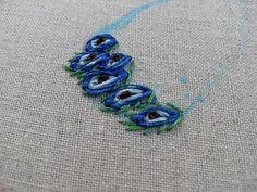 Lazy Daisy Peacock Feather Stitch Variation