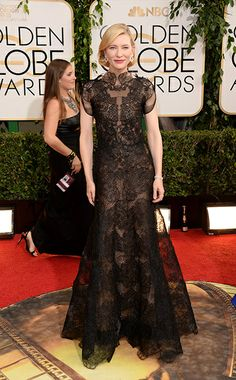 Cate Blanchett: We predicted this might be the dress Cate Blanchett donned on the red carpet at the 2014 Golden Globes, and we were right! Not only does the actress adore Armani Privé, she's also likely to take a fashion risk on the red carpet: and in this case, it turned out to be the best kind. The delicate layers of lace and tulle give the gown an unusual point of difference, which Blanchett carries off with ease. Photo by Getty Images Jan 13, 2014