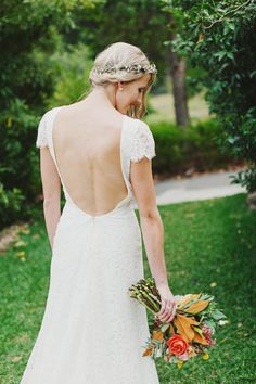 Low-back dress: http://www.stylemepretty.com/2014/08/20/whimsical-country-wedding-in-australia/ | Photography: Jonathan Ong - http://www.jonathanong.com/