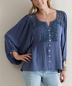 Look at this Slate Blue Crochet Button-Up Top on #zulily today!
